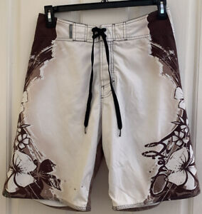 Vintage O'Neill Hawaiian Hang Loose Floral Mens Brown Boardshorts size 32