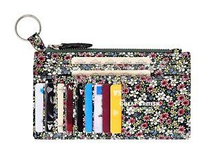 Women Genuine Leather Wallet Slim Floral Print Credit Card Holder Keychain Purse