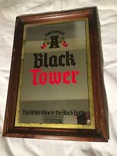 Vintage Imported Black Tower Mirror Sign Wood Framed White Wine In the Bottle