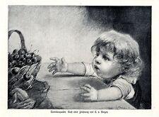 Tantalusqualen Kindermotiv von Carl von Bergen Historischer Druck von 1915