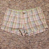 American Eagle Shorts Women's Size 4 Beige Blue Green Plaid Cuffed Shorts