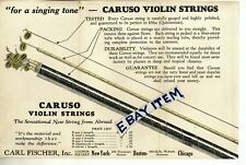 C 1920 Pamphlet Caruso Violin Bow Strings New York Boston Chicago Carl Fischer