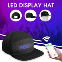 LED Display Baseball Cap Fashion Cool Hat Screen Light bluetooth App Black USA