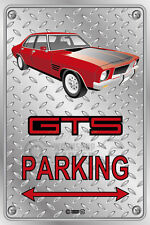 Parking Sign - Metal - HOLDEN HQ - GTS-RED 4-DOOR WELD-WHEELS - Checkplate look