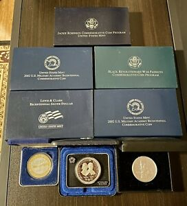 Lot Of 8 Sterling Silver US Mint Commemorative Coins - In Boxes NEW (FREE SHIP)