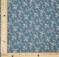 Vintage Cotton Blend Calico Fabric Feedsack Blue Floral Quilt Doll Clothing BTY
