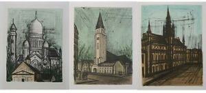 Bernard BUFFET : 3 LITHOGRAPHIES - Monuments de PARIS #1967 #MOURLOT