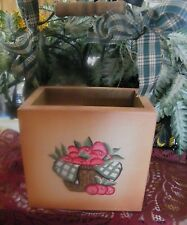 country wood APPLE BOX bucket apples shelf sitter or hangs kitchen decor 6x5.5