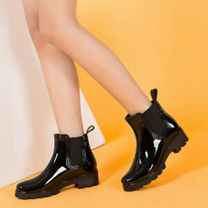 Women Low Heels Ankle Boots Round Toe Patent Leather Combat Shoes Slip On Casual