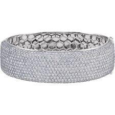 "15 Ct Diamond Bangle Bracelet SI1 GH Diamonds 18K WG 3/4""x7"" Hinged 664 Diamonds"