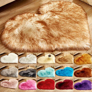 Love Heart Fluffy Mat Rugs Soft Shaggy Kids Fake Faux Fur Bedroom Room Rug Mats