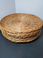 """Vintage Paper Plate Holders Rattan Wicker Bamboo Setof 10 Camping Picnic 10""""   J"""