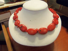 VINTAGE (QVC) KENNETH JAY LANE REAL RED CORAL NUGGET STATEMENT NECKLACE