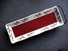 TAG LTD. - WINTERBERRY CHINA SERVING PLATTER AND WROUGHT IRON STAND