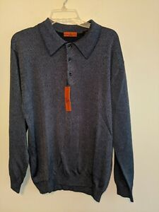 6A By Axis Blue Marl Polo Collar Sweater Dressy