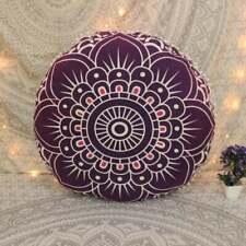 Indian Purple Ombre Mandala  Round Decor Floor Cushion Cover Ottoman Pouf Cover