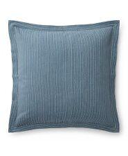 Ralph Lauren Hanah Yarn Dyed Stripe Cotton European Pillow Sham Cream/Blue $135