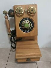 Vintage Telephone Wall Mount Phone American Heritage Antique Wood Decor Rotary