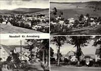 NEUDORF Kr. Annaberg DDR Postkarte 4-fach Mehrbildkarte schöne Ortsansichten
