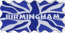 Birmingham Union Jack UK Flag Woven Badge Patch Motif 98mm x 48mm IRON ON