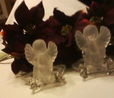 Pair Crystal Angel Star Candle Holder Lalique style Cherubs Holiday Christmas