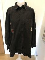 Gorgeous Zara Black Denim Badge Detail Shirt Dress Size XL Good Condition