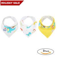 Infant Baby Bandana Drool Bibs for Boys/Girls 3 Pack Triangle Saliva Towel