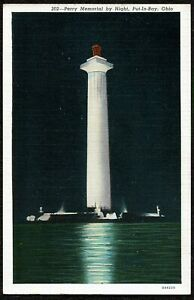 Vintage Postcard, 202 Perry Memorial by Night, Put-In-Bay, Ohio - C.T. Art