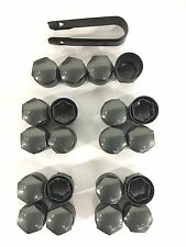 GENUINE Audi wheel bolt stud nut plastic covers full set Gloss Grey Finish +Tool