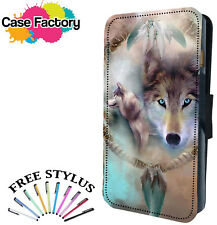 WOLF DREAM CATCHER ART PRINT - Leather Flip Wallet Phone Case Cover