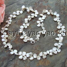 H032505 36'' 14MM White keshi Pearl Necklace