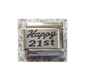 Italian Charms L84 Happy 21st  - 21 Birthday Fits Classic Size Bracelet