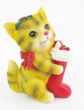 Grey Tabby Cat Xmas figurine Approx 8.5cm High