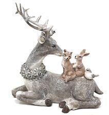 Large Stag Fox Rabbit & Two Birds Woodland Animals Figurine Ornament 16cm Tall