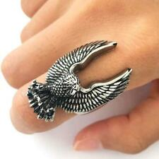 LARGE EAGLE WINGS UP STAINLESS STEEL RING size 14 - S-553 biker MEN women eagles