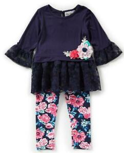 """NEW Rare Editions Baby Girls Size 12M """"NAVY LACE PINK FLORAL"""" Top Pant NWT"""
