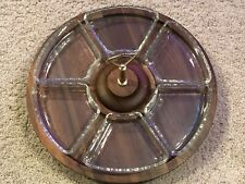 Vintage Walnut 6 Part Wood Serving Relish Condiment Lazy Susan Tray