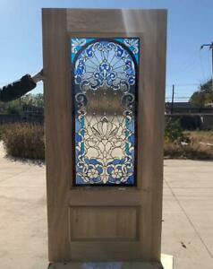 HAND MADE LEADED STAINED GLASS MAHOGANY ENTRY DOOR - JHL164