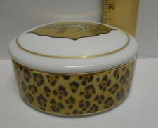"""Discontinued Lynn Chase  AMAZONIAN JAGUAR 3 1/2"""" round trinket box with lid 1994"""
