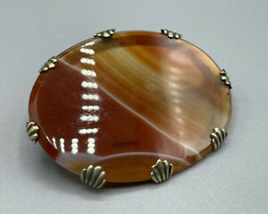 Antique Victorian Silver Plated Banded Agate Specimen Brooch