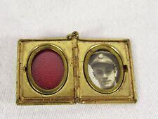 WWII Era Photo Locket Charm U.S. Army Soldier Vintage Keepsake