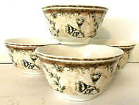 "222 Fifth Floral Toile Set of 4 Soup Cereal 6"" Bowls Dragonfly Kathryn White EUC"