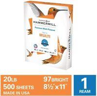 Hammermill Premium Multi-Purpose Copy Paper, 20lb., 8.5x11, 1 Ream, 500 Sheets