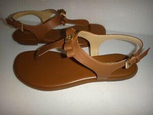 MICHAEL KORS Bow Thongs Flat Sandals Slingbacks Luggage Saffiano Leather  9, 9.5