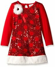 Rare Editions Toddler Red Sequin Christmas Dress With Faux Fur, Size 24M* NWT