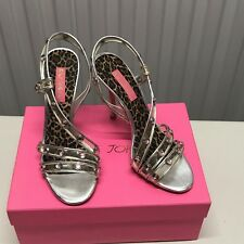 Betsey Johnson Leopard Print & Pink Studs Strappy High Heels Shoes Size 8M NEW