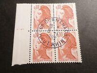 FRANCE BLOC timbres 2179 LIBERTE' DELACROIX, oblitéré 1982 cachet rond, QUARTINA