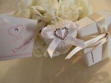 Silver Diamante Heart  Pearl Wedding Good Luck Charm Horseshoe Bridal