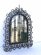 Antique Cast Iron Double Door 12 x9 Wall Mirror Vintage Black Early 20t Century