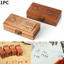 Wooden Rubber Upper Lower case Alphabet Letters Symbol Stamps Set Retro